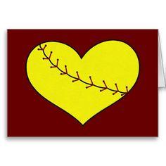 Fastpitch Softball Heart Card