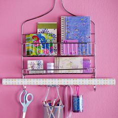 Use every day items like a shower rack to organize your craft supplies.