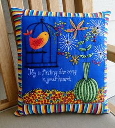 Song in Your Heart Caged Bird Beaded Pillow by thebeadedpillow, $50.00