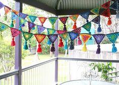 craft, idea, crochet bunt, prayer flag, buntings, knit, garland, parti, banner