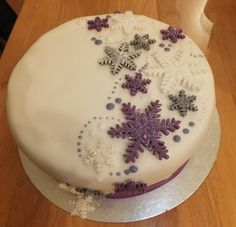 Snowflake cake is perfect for a Frozen Birthday party.