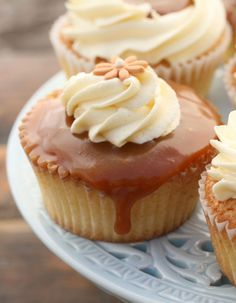 vanilla cupcakes with salted caramel and butter cream