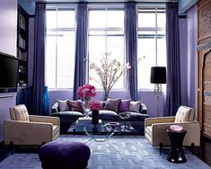 interior design, living rooms, elle decor, the color purple, shades of purple, jessica stam, ny apartment, new york apartments, purple rooms