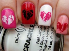 1) OPI Kiss Me With Your Tulips with China Glaze Lightning Bolt 2) Essie Jelly Apple with China Glaze Black Mesh 3) Essie Blanc with China Glaze Broken Hearted 4) Essie Van D'Go with OPI Red Shatter
