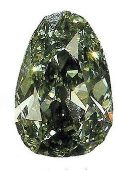 Close-up of The Dresden Green Diamond, 41 cts, - The Largest Cut Green Diamond.