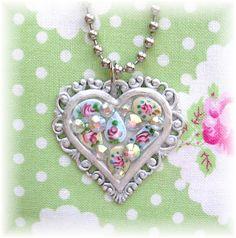 Guilloche Enamel Heart Charm Necklace Handmade