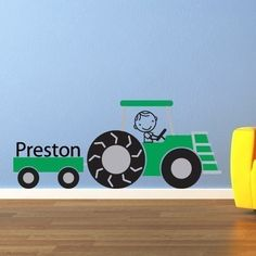 Tractor Decal  Boy & Name Custom Vinyl by StephenEdwardGraphic, $35.00 totally adding this to the truck room