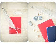 Set of red and blue handmade journals by Buntmal