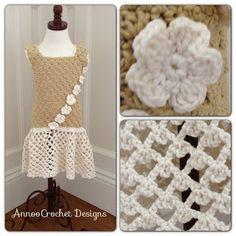 Annoo's Crochet World: Little Girl Vintage Flower Dress