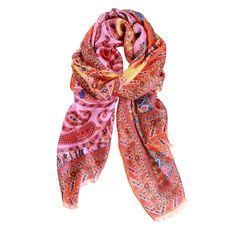 Silk Scarf Paisley Orange