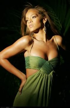 (love the top and colour) rihanna's green dress
