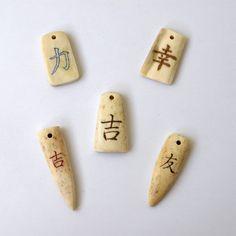 Japan kanji symbols.. Hand carved out of real naturally shed elk antler. Engraving technique - Scrimshaw For sale - https://www.etsy.com/shop/BDSart?section_id=13195774&ref=shopsection_leftnav_9