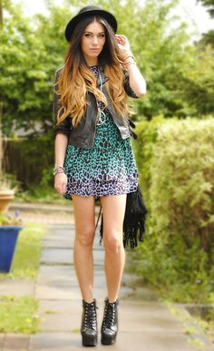 Love her hair, shoes, dress, everything. blogger from lookbook.nu
