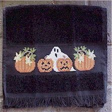 cross stitched  #Halloween towel