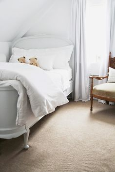 sweet antique bed, soft grays and whites for walls & fabric