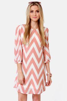 Cute Blush Pink Dress - Chevron Print Dress - Shift Dress - $41.00