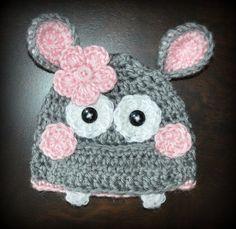 Crochet Hippo Baby Beanie Hat Photo Prop Custom Made Boy Girl $20