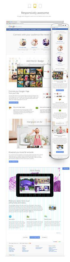 """Ejemplos de Responsive Design. """"Google+ Business (web & mobile)"""" #ccentral"""