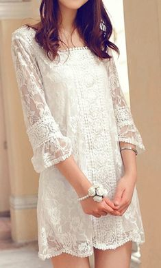 White lace dress   DressLily.com