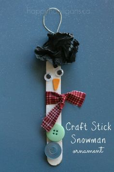 Craft Stick Snowman Ornaments - happy hooligans