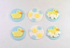 Rubber Ducky Baby Shower Fondant Cupcake Toppers