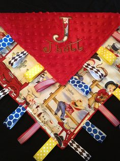 Little Cowboy Baby Tag Security Blanket