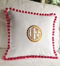 Gold Scalloped Monogram Pom Pom Pillow by peppermintbee