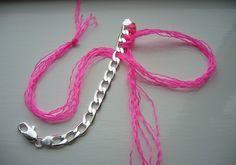 DIY chunky silver neon weave bracelet 004