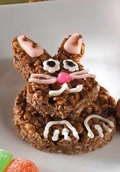 Rice Krispies Chocolate Bunny Treats -- Make these googly-eyed bunnies, complete with marshmallow cottontails for everyone's Easter baskets!