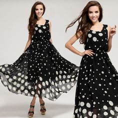 2014 Summer New Bohemian Beach Dress Fashion Women Black White Dot Plus Size Maxi Long Full Length Casual Chiffon Dress Sundress