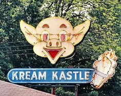 """'KREAM CASTLE' sign once located in Brownsville, Tennessee. The """"Kream Kastle"""" was the best place for homemade ice cream. Owned by the Weaver family, they had, at one time, five generations helping to make some of the most creative ice cream flavors in the US. Long before 31 Flavors came on the scene, there were wild tastes like the Bubble Gum Peppermint Candy ice cream, and even Peanut Butter Chunk Chocolate ice cream! Eat your heart out Ben and Jerry!"""