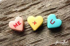 Homemade Marshmallow Conversation Hearts.