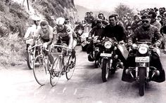 French revolutions: compatriots Jacques Anquetil (left), the first rider to win five Tours, battles with rival and Raymond Poulidor on the Puy de Dôme during the 1964 edition of the race. Despite Anquetil's dominance of the race it was Poulidor, the man known as 'the eternal second' who won the affections of the French. Indeed, even to this day spectators are heard shouting 'Allez, Pou-Pou!' in honour of the man who never won the Tour