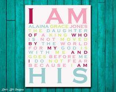 I Am His Daughter of a King. Christian Wall Art. Nursery Wall Art. Children's Room Decor. Baby Shower Gift. Personalized Room Decor. Baptism