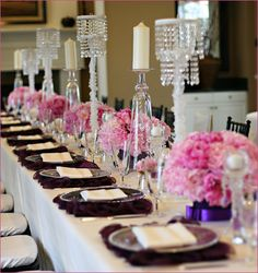 table settings, pink flowers, bridal shower decorations, wedding showers, bridal shower ideas