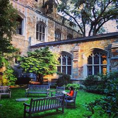 When the weather is nice, there are many places around campus to study outside! Check out the secret Law Quad gardens.