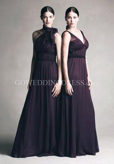 A-Line Floor-length Crinkle Chiffon/ Tulle Bridesmaid Dress Style JYCC240/ JYBB244/JYCC242