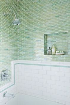 lovely green/blue glass tile. Amazing tile for a beach house!!