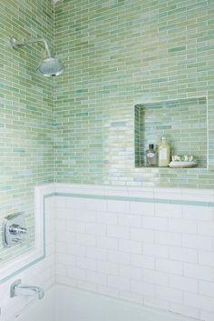 lovely green/blue glass tile. Amazing tile for a beach house!!