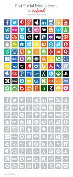 90 Free Flat Social Media Icons created by @Enfuzed #free #freebie #socialmedia #icons #flat