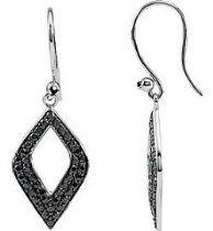Genuine Sterling Silver Black Spinel Drop Dangle Earrings dangl earring, dangle earrings