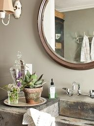 Fixer-Upper SinkA damaged soapstone sink from Urban Farmhouse cleaned up just fine in this Ohio farms bathroom.        Read more: Bathroom Decorating and Design Ideas - Country Bathroom Decor - Country Living...Warwick Farms milk house sink again