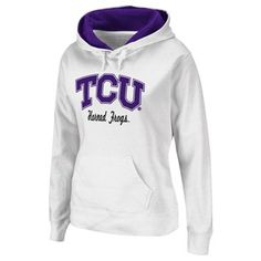 TCU Horned Frogs Sweatshirt: http://pin.fanatics.com/COLLEGE_TCU_Horned_Frogs_Ladies/TCU_Horned_Frogs_Ladies_Titan_Pullover_Hoodie_-_White/source/pin-tcu-sweats-sale-sclmp