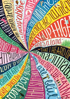 """Draw Me a Song - """"Over the Rainbow"""" by Judy Garlan // www.drawmeasong.com #poster #typography #illustration #wizard #oz"""