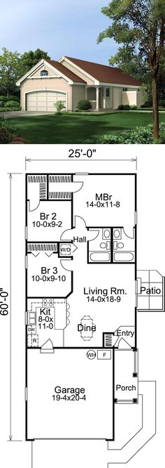 #NarrowLot #HomePlan 86988 | The Trailbridge Narrow Lot Home has 3 bedrooms and 2 full baths. The spacious front porch leads you into the adorable living area and relaxing dining area that opens to the well designed kitchen with convenient breakfast bar. A small patio with privacy fence creates an awesome exterior and is accessed from the enchanting living room. The comfortable master bedroom includes a large walk-in closet and its own private full bath.