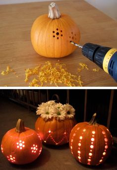 Pumpkins with drilled holes http://www.craftynest.com/2008/10/pumpkins-carved-with-a-drill/