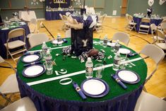 Table setting with a football theme.