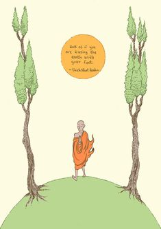 Thich Nhat Hanh inspirational quote art print  by MikeMedaglia