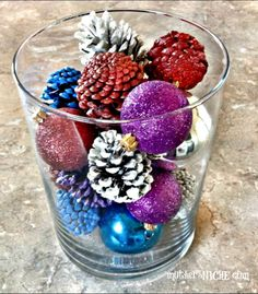 painted pine cones make a cheap and easy decoration