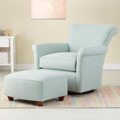The Land of Nod | Nursery Gliders: Blue Swivel Glider Chair and Ottoman in Rockers & Gliders